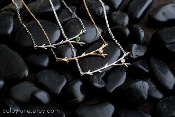 14k Gold Diamond Branch Necklace | Gold Necklace