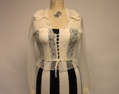 50s Vintage Off White Sheer Mesh Lace Blouse