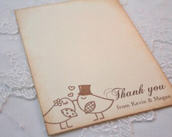 Wedding Thank You Cards  Love Birds Personalized Set of 10 Stationery Set Flatcards