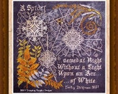 Halloween Pattern, Arc of White Counted Cross Stitch Pattern by Tempting Tangles Designs, Halloween Spider Web Design DD