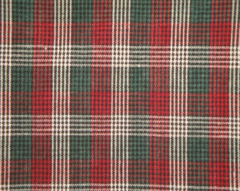 FLAWED Homespun Fabric Micro Check Plaid Green Black Wine And White 1 Yard