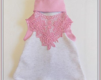 Pet Clothing To Order Orchid Pink Lace Applique Girly Turtleneck ShirtDress nice for Sphynx and Pups