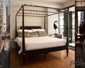 Houston Four Poster Canopy Platform Bed | California King Bed Frame | Primitive Painted Furniture | Black Bedroom Furniture