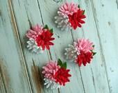 Wool Felt Flowers - Mini Daisies Love Trio - Set of 4