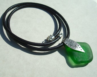 Sea Glass Necklace- Black Leather- Green Seaglass Slide Pendant -Sterling Silver Jewelry