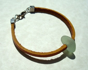 Sea Glass Bracelet -Leather Cord Jewelry -Seaglass Bracelet