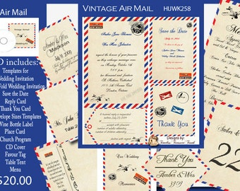 Air Mail Wedding Invitation Kit on CD