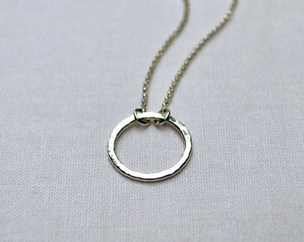 Small Sterling Silver Circle Pendant Necklace Argentium Sterling Silver, Infinity, Hammered Circle, Layering Necklace