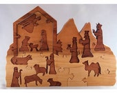 RESERVED for Corrie Koenig,  Nativity Advent Calendar, wooden puzzle