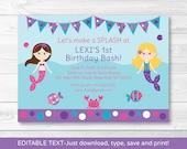 Mermaid Birthday Invitati...
