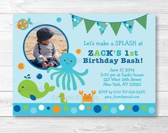 Cute Under the Sea Birthday Invitation / Under The Sea Birthday Invite / Nautical Birthday Invite / 1st Birthday / 2nd Birthday / PRINTABLE