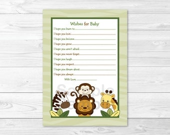Cute Jungle Animal Wishes for Baby Cards / Jungle Animal Baby Shower / Safari Animal Baby Shower / Gender Neutral / INSTANT DOWNLOAD