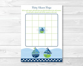 Nautical Sailboat Baby Shower Bingo Cards INSTANT DOWNLOAD