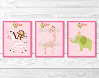 Cute Pink Jungle Animal Nursery Wall Art / Jungle Animal Nursery Wall Art / Safari Animals / Girl Junge Animal / PRINTABLE Instant Download