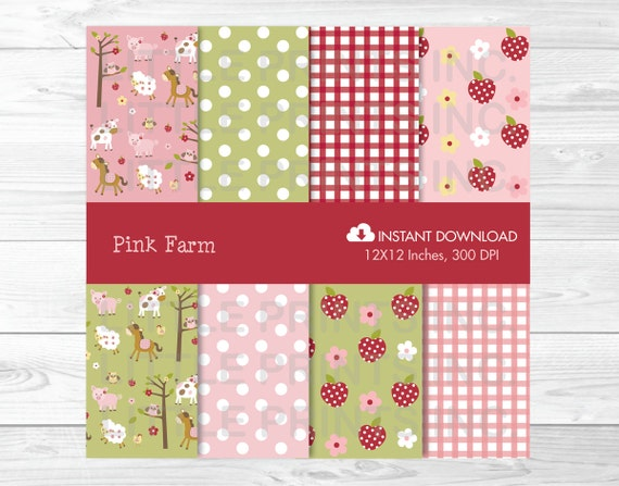 Cute Pink Farm Animal Digital Paper / Farm Animal Backgrounds / Farm Animal Patterns / Farm Animal Baby Shower PERSONAL USE Instant Download