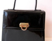 Black Patent Leather Vintage Frenchy of California Handbag
