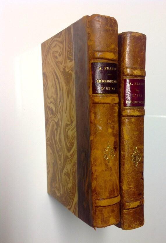 Ca 1890 Anatole France Le Mannequin and L'Ile des Pengouins - Two Antique Gilt Leather Volumes Paris