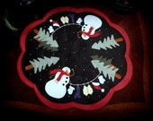 "Hand Stitched ""Dress Me Up Frosty"" Wool Felt-Wool Applique-Penny Rug-Candle Mat-Primitive-Folk Art-Snowman-Winter-Christmas-Table Mat-OFG"