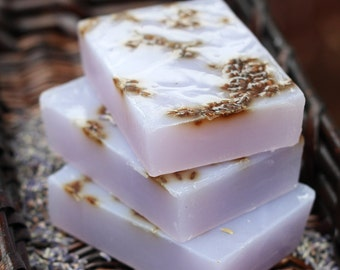 Lavender Soap with Lavender Buds - Handmade Olive Oil, Aloe, and Shea Butter Soap // Gifts for Her