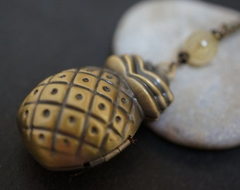 SALE - Simple Vintage Pineapple Locket Necklace with Natural Rutile Quartz Crystal - 16 inches