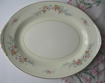 Vintage Homer Laughlin Pink Floral Serving Platter - Shabby Cute