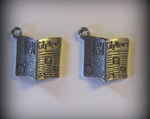 4 Silver Pewter Newspaper Charms (qb23)