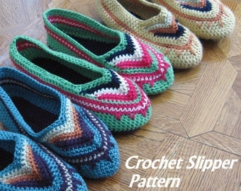 Womens Crochet Slipper Pattern House Shoes With Colorful Chevron Toe Multi Sized  Women's  Slipper Pattern Instant Download Easy To Make