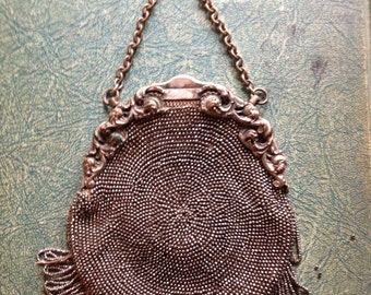 Vintage Steel cut beaded purse- chatelaine - Victorian Edwardian