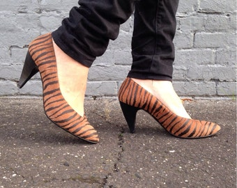 size 9, Vintage 80s Animal Print Heels /Leather Zebra Stripe Shoes