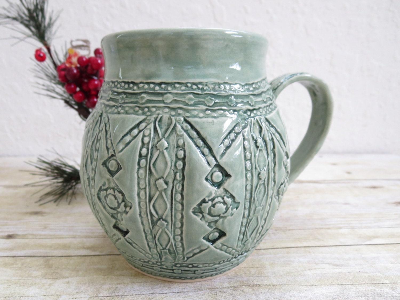 Coffee mug oversized cup sage green rose flower stamped - Sage green color wheel ...