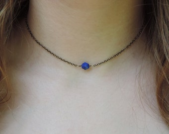 Choker necklace with top blue lapis lazuli polygon