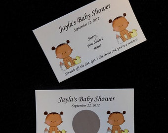 Personalized Scratch Off Cards Baby Shower, baby girl with dark skin, set of 25