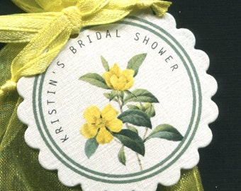 Personalized Bridal Shower Favor Tags, yellow flower, set of 25