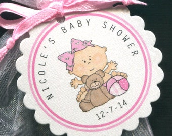 Personalized Baby Girl Baby Shower Favor Tags, Baby Girl With Teddy And Ball, Set Of 25 Round Scallop Tags