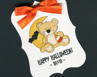 Large Personalized Halloween Favor Tags, teddy bear with moon, set of 25