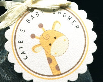 Personalized Baby Shower Favor Tags, giraffe, gold and ivory, set of 40 round scallop tags