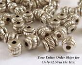 60 Ribbed Tibetan Silver Spacers Lantern Barrel Beads 5x4mm LF/CF - 60 pc - M7062-AS60