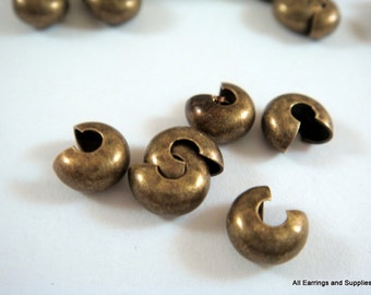 50 - 5mm Crimp Bead Cover Antique Bronze Plated Brass Closed NF - 50 pc - F4146CC-AB50