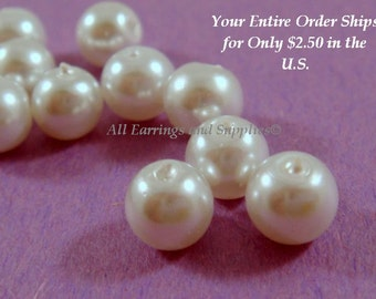 50 White Glass Pearl 8mm - 14 inch - 5372