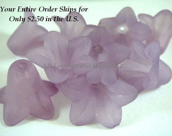 10 Lavender Flower Beads Acrylic Petunia Frosted Bead 17x12mm - 10 pc - A1043FL-LV10