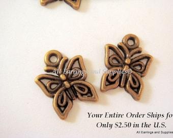 10 Butterfly Charm Drop Antique Bronze LF/CF/NF Tibetan Silver 15x12.5mm - 10 pc - DC3017-AB10