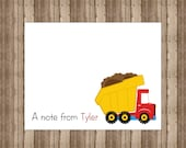 PERSONALIZED NOTECARDS for BOYS/Boxed Construction Dump Truck Notecards/Dump Truck Stationery/Set of 10/Construction Party Thank You Cards