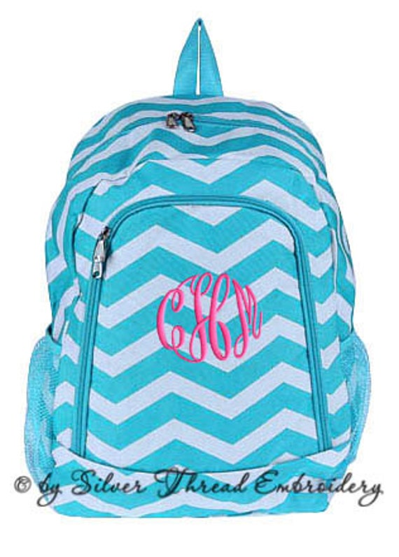 Girls Personalized Backpack Aqua Chevron School Monogrammed