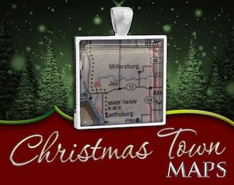 Joy, Illinois | Christmas Town Map Pendant