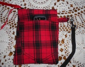 Red and Black Plaid Wristlet Zipper Pocket with Snap On Purse Bag