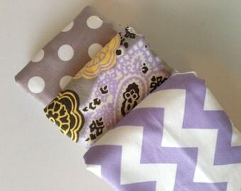 Grey Paisley + Lavender Baby Burp Cloth Set (3)