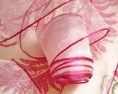 "5 Yards of Soft Pink Organdy Ribbon Banded in Fuchsia  (1"")"