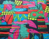 vintage 80s fabric featuring brights on black abstract print, 1 yard