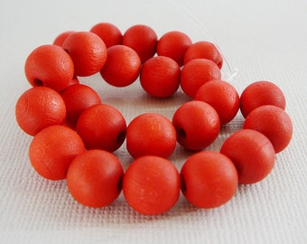Vintage .. Wood Beads, 10mm Red Bead Jewelry Supplies