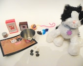 American Girl Doll Cat Accessory Set-treats, food, toys